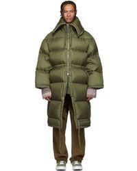 Acne Studios - Green Down Long Coat - Lyst