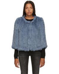 Yves Salomon - Blue Knitted Rabbit Jacket - Lyst