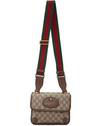 a758f321d Gucci Brown GG Supreme Canvas & Pink Patent Leather Messenger Bag in Brown  - Lyst