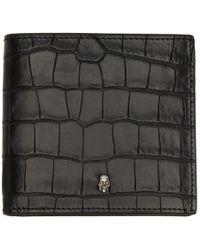 Alexander McQueen - Black Croc 8cc Bifold Wallet - Lyst