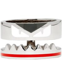 Fendi - Silver Bag Bugs Band Ring - Lyst