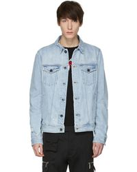 Diesel Black Gold - Blue Distressed Denim Jacket - Lyst