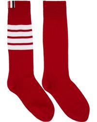 Thom Browne - Red Ribbed Four Bar Socks - Lyst