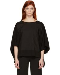 MM6 by Maison Martin Margiela - Black Mixed Jersey Drop Sleeve T-shirt - Lyst