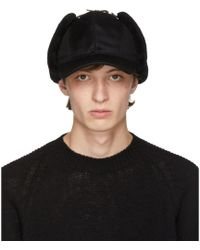 Prada - Black Fur Flap Cap - Lyst