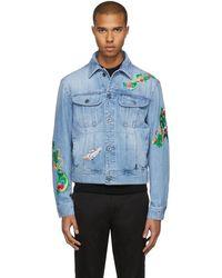 Versace - Blue Embroidered Denim Jacket - Lyst