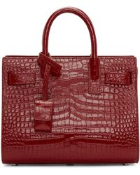 Saint Laurent | Red Croc Nano Sac De Jour Tote | Lyst