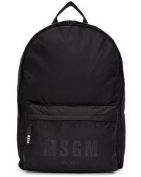 MSGM - Black Logo Backpack - Lyst