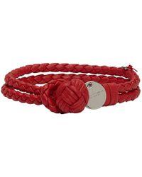 Bottega Veneta - Red Intrecciato Knot Bracelet - Lyst