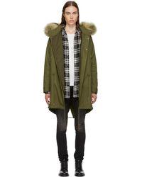 Saint Laurent - Khaki Hooded Fur Parka - Lyst