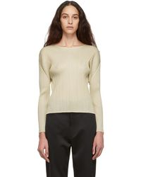 Pleats Please Issey Miyake - Beige Pleated Sweater - Lyst