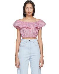 Miu Miu - Pink Striped Off-the-shoulder Blouse - Lyst