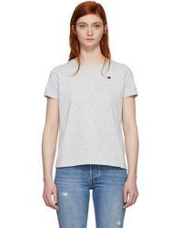 Champion - Grey Small Logo T-shirt - Lyst