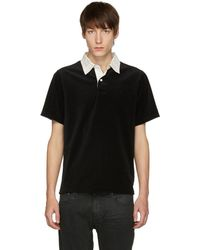 Saturdays NYC - Black And White Jake Velour Polo - Lyst