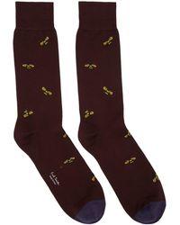 Paul Smith - Burgundy Bee Pattern Socks - Lyst