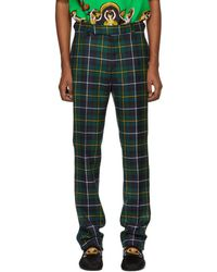 Versace - Green Plaid Trousers - Lyst