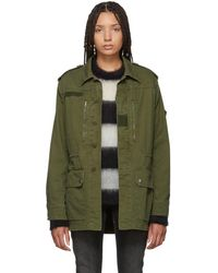 Saint Laurent - Green Sequinned Patch Army Coat - Lyst