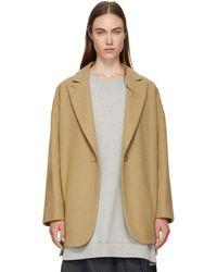 MM6 by Maison Martin Margiela - Beige Wool Coat - Lyst