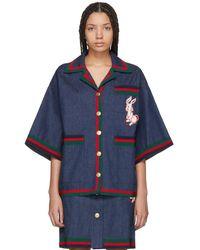 Gucci - Indigo Denim Striped Piping Jacket - Lyst