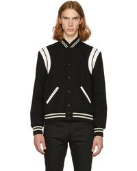 Saint Laurent - Black And White Teddy Bomber Jacket - Lyst