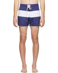 Saturdays NYC - Blue And White Grant Swim Shorts - Lyst
