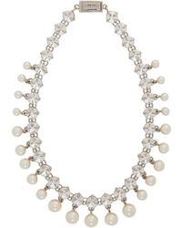 Miu Miu - Silver Crystal And Pearl Choker - Lyst