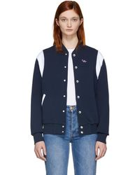 Maison Kitsuné | Navy And White Teddy Tricolor Fox Bomber Jacket | Lyst