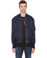 Diesel Black Gold - Navy Nylon Bomber Jacket - Lyst