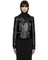 Saint Laurent - Black Classic Leather Motorcycle Jacket - Lyst