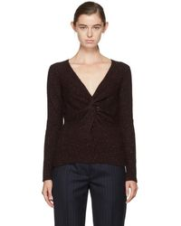 Isabel Marant - Burgundy Edge Twisted Donegal Sweater - Lyst