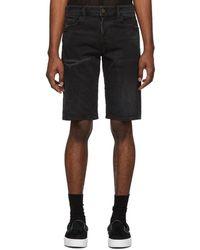DIESEL - Black Denim Crinkled Thorshort Shorts - Lyst