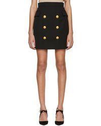 Balmain - Black Wool Six-button Miniskirt - Lyst