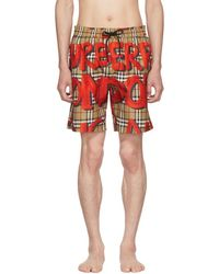 Burberry - Beige And Red Graphic Check Swim Shorts - Lyst