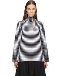 Hyke - Navy & White Striped Turtleneck - Lyst