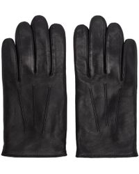 HUGO - Black Leather Gloves - Lyst