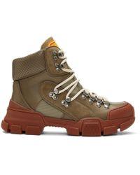 Gucci - Khaki And Red Flashtrek Boots - Lyst