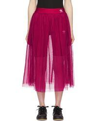 adidas Originals - Pink Tulle Adicolor Sleek Skirt - Lyst