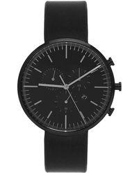 Uniform Wares - Gunmetal And Black Leather M42 Chronograph Watch - Lyst