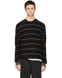 McQ - Black Pinstripe Crewneck Sweater - Lyst