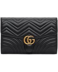 Gucci - ブラック ミディアム GG マーモント 2.0 クラッチ - Lyst