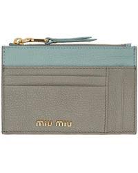 Miu Miu - グレー And ブルー カラーブロック カード ホルダー - Lyst