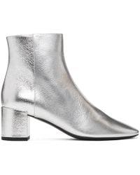 Saint Laurent - Silver Metallic Loulou Boots - Lyst
