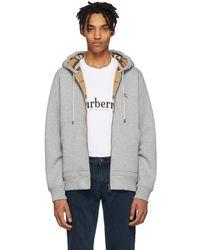 Burberry - Grey Core Hoodie - Lyst