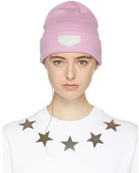 Givenchy - Pink Leather Logo Patch Beanie - Lyst