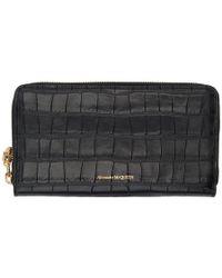 Alexander McQueen - Black Croc Continental Zip Wallet - Lyst