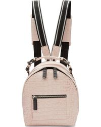 MSGM - Pink Croc-embossed Small Backpack - Lyst