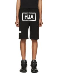 Hood By Air - Black & White Box Logo Shorts - Lyst
