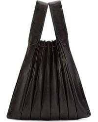 Yohji Yamamoto - Black Pleated Leather Tote - Lyst