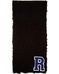 Raf Simons - Black Wool Logo Scarf - Lyst