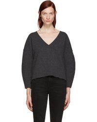 BLK DNM - Grey Wool V-neck Jumper - Lyst